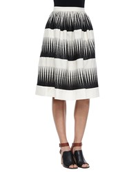 Suno Striped Full Midi Skirt Ivory Black