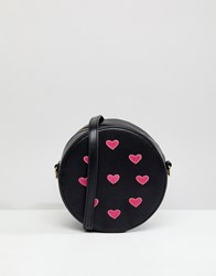 Liquorish Heart Embellished Round Across Body Bag Black Heart