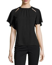 Laundry By Shelli Segal Cutout Neckline Ruffle Sleeve Top Black