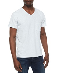 7 For All Mankind Raw Edge V Neck Tee Light Blue