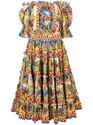 Dolce And Gabbana Sicilian Carretto Print Dress Yellow