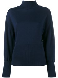 Jacquemus Wool High Neck Knit With Open Back Blue