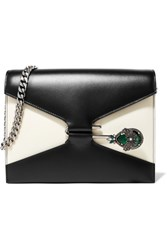 Alexander Mcqueen Pin Swarovski Crystal Embellished Two Tone Leather Shoulder Bag Black