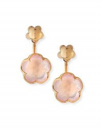 Pasquale Bruni Bon Ton Pink Quartz Flower Jacket Earrings In 18K Rose Gold