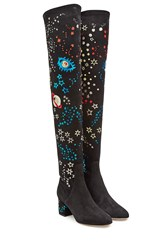 Valentino Embroidered Over Knee Suede Boots Multicolor