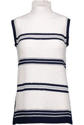 Derek Lam Striped Wool Blend Turtleneck Sweater White