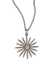Bavna 1.41 Tcw Champagne Rose Cut Diamonds 1.50 Ct Labradorite And Sterling Silver Necklace