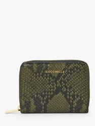 Coccinelle Reptile Print Leather Zip Around Wallet Green