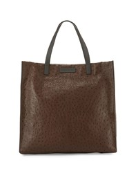 Brunello Cucinelli Ostrich Leather Shopping Tote Bag Dark Brown