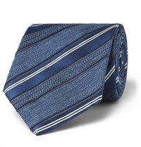 Brioni 8Cm Striped Silk Jacquard Tie Navy