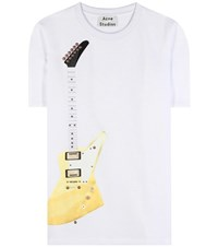 Acne Studios Eris Guitar Embellished Cotton Blend Top White