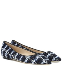 Jimmy Choo Exclusive To Mytheresa Romy Tweed Ballet Flats Blue