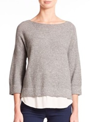 Joie Symphorienne Wool Cashmere Sweater Heather Grey Porcelain