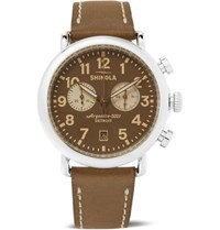 Shinola The Runwell Chronograph 41Mm Stainless Steel And Leather Watch Brown
