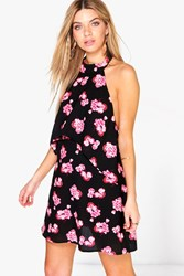 Boohoo Floral Double Layer Halterneck Swing Dress Black