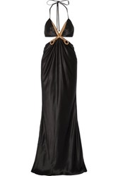 Moschino Cutout Metallic Appliqued Silk Satin Gown Black