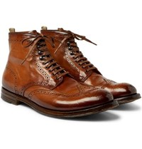 Officine Creative Anatomia Burnished Leather Brogue Boots Brown