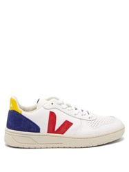 Veja V 10 Low Top Leather Trainers White Navy