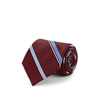 Fairfax Striped Silk Jacquard Necktie Red