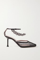 Cesare Paciotti Chain Embellished Leather Trimmed Mesh Pumps Black