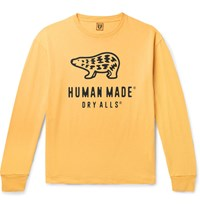 Human Made Logo Print Cotton Jersey T Shirt Yellow