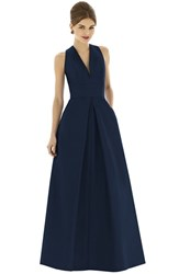 Women's Alfred Sung V Neck Dupioni Full Length A Line Dress Midnight
