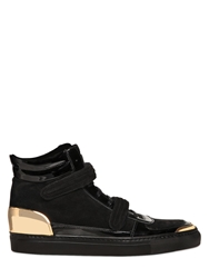 Louis Leeman Suede And Patent Leather High Top Sneakers Black