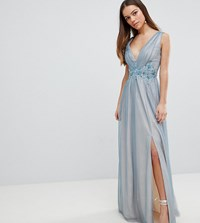 Little Mistress Petite Full Tulle Maxi Dress With Embroidery Dusty Blue