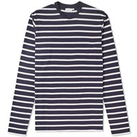 Sunspel Long Sleeve Breton Stripe Tee Blue