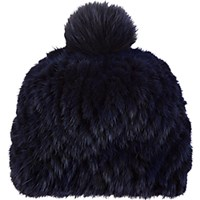 Barneys New York Women's Mink And Fox Fur Knit Beanie Navy