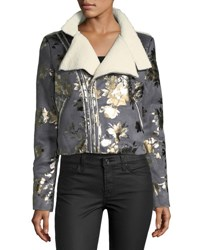 Goldie London Inca Rose Metallic Cropped Faux Suede Jacket Charcoal