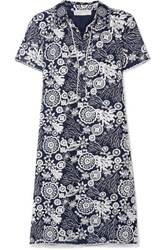 Michael Michael Kors Embroidered Crinkled Georgette Mini Dress Navy