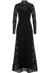 M Missoni Floor Length Dress With Sheer Inserts Black
