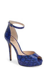 Vince Camuto 'Lillith' Ankle Strap Platform Pump Women Winter Blues Snake Leather