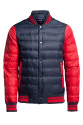 Tommy Hilfiger Men's Baseball Down Bomber Jacket Navy And Red Navy And Red