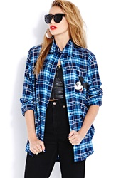 Forever 21 Cozy Plaid Mickey Shirt Blue Navy