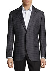 Lubiam Plaid Wool Sportcoat Dark Grey