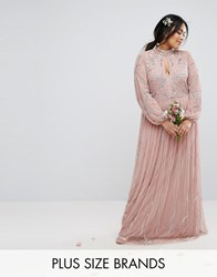 Lovedrobe Luxe Floral Sequin Embroidered Maxi Dress With Tulle Skirt Mauve Purple
