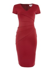 Jessica Wright Cap Sleeve V Neck Bodycon Dress Red