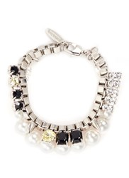 Joomi Lim 'True Innocence' Faux Pearl Crystal Chain Bracelet Metallic Multi Colour