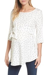 Isabella Oliver Selina Tie Front Maternity Top Off White Star Print