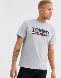 Tommy Jeans Classics Chest Flag Logo T Shirt In Grey Marl