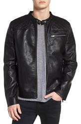 Topman Washed Faux Leather Racer Jacket Black