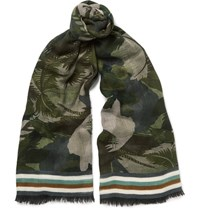 Valentino Fringed Printed Cashmere Silk And Wool Blend Scarf Army Green