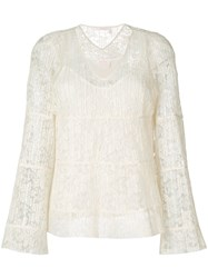 See By Chloe 'Pleated Lace V Neck' Bell Sleeve Blouse Women Polyester Viscose 36 Nude Neutrals