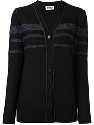 Sonia Rykiel By Striped Button Down Cardigan Black