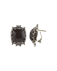 Konstantino Carved Silver And Onyx Square Button Earrings Black