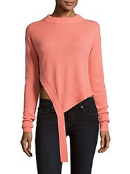 Tibi Solid Tie Up Cashmere Sweater Denim