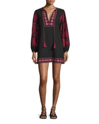 Talitha Salma Embroidered Long Sleeve Peasant Dress Cranberry Black