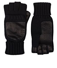 Barneys New York Men's Wool Cashmere Convertible Mittens Black